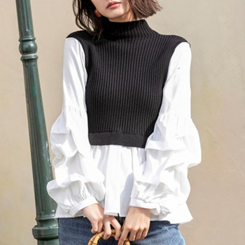 2020 Autumn Turtleneck Knitted Sweater Women Long Sleeve Korean White Patchwork Loose Pullover Tops Harajuku Oversized Blouse turtleneck falbala patchwork plaid blouse