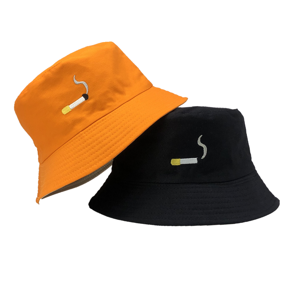 Sombrero de pescador con bordado de cigarrillo para hombre y mujer, gorra de pesca de estilo Hip Hop, sombrero plano de algodón para amantes del verano, 2020