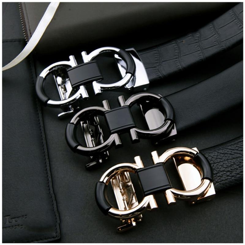 Luxury Brand Male Genuine Leather Strap Belts for Men Top Quality Belt Automatic Buckle Black Belts Cummerbunds