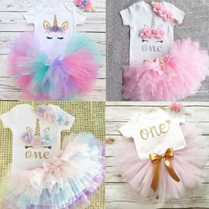 1 Year Baby Girl Clothes Unicorn Party tutu Girls Dress Newborn Baby Girls 1st Birthday Outfits Toddler Girls Boutique Clothing(China)