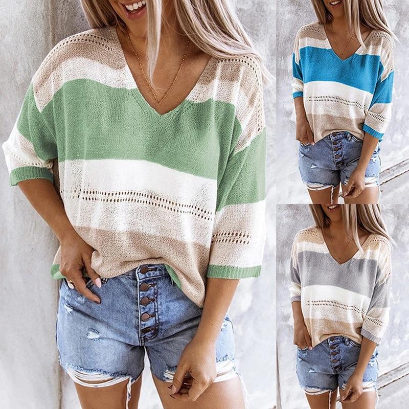 Autumn Women's Tailoring Striped Colorblock V-Neck Cutout Loose Sweater