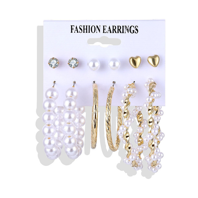Fashion Resin Acrylic Pearl Earrings Set Bohemian Vintage Fringe Geometry Brincos Women's Earrings Jewelry Gifts