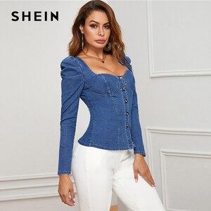 Image 4 - שיין כחול כפתור למעלה פאף שרוול Bustier ינס למעלה חולצה נשים סתיו מתוק צוואר Slim מצויד סקסי חולצות וחולצות