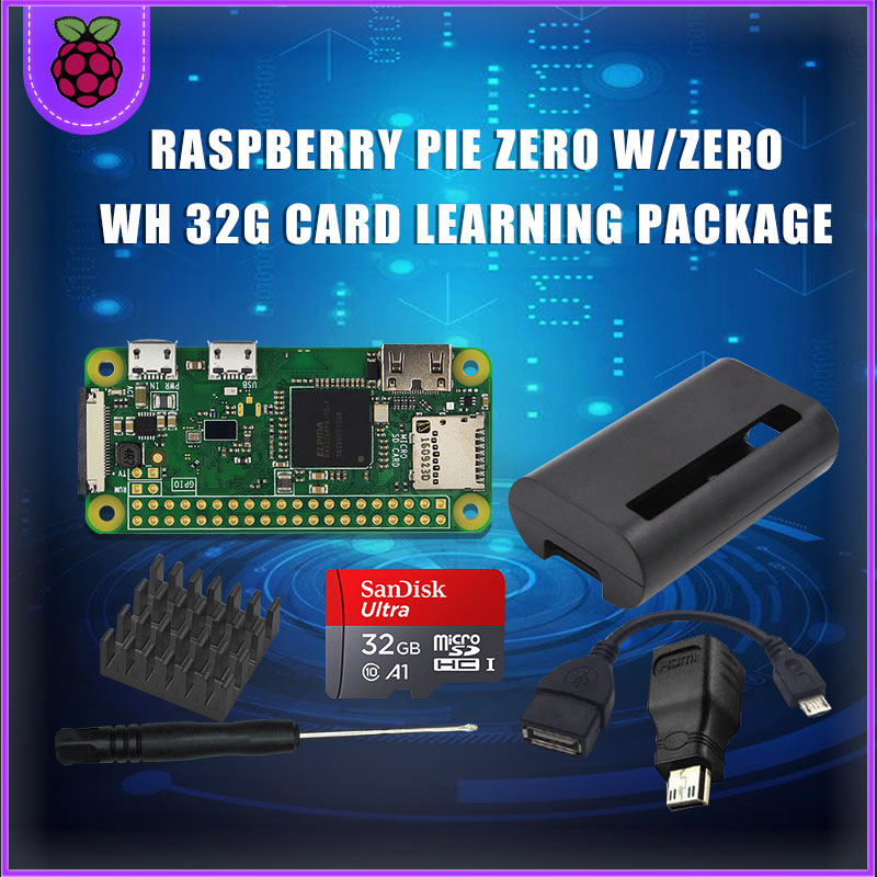 Raspberry Pi Zero WH Starter Set Raspberry Pi Zero W+ 32G Card + Power Adapter + ABS Housing + Radiator + 3 In 1 Adapter Suite