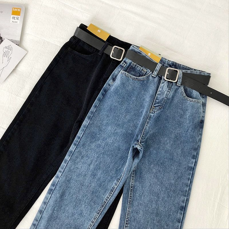 Vintage High Waist Jeans Women Solid Straight Pants Loose Casual Plus Size High Street Denim Trousers Pantalon Femme With Belt