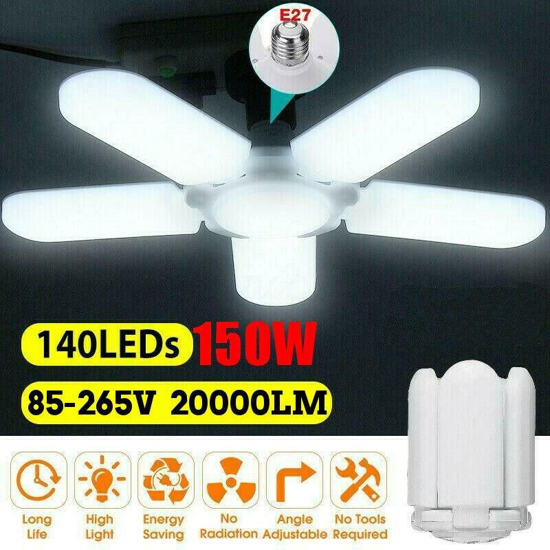 20000lm 6500K LED Garage Light E27 Shop Workshop Ceiling Lamp Deformable 3/4/5 Panel For Barn Parking Lot Warehouse Basement