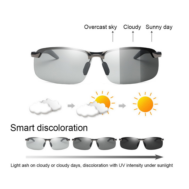 Motor Driving Photochromic Sunglasses Men Polarized Chameleon Discoloration Sun Glasses For Men Fashion Rimless Driver Goggles