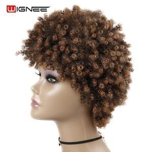 Image 4 - Wignee короткие волосы афро кудрявые вьющиеся термостойкие синтетические парики для женщин смешанный коричневый Косплей африканские прически повседневные волосы парик