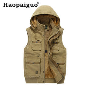 2019 Autumn Winter Basic Jackets Coat Man Vest Solid Waistcoat Man Hooded Veste Cotton Thick Warm Fishing Waistcoat with Pocket