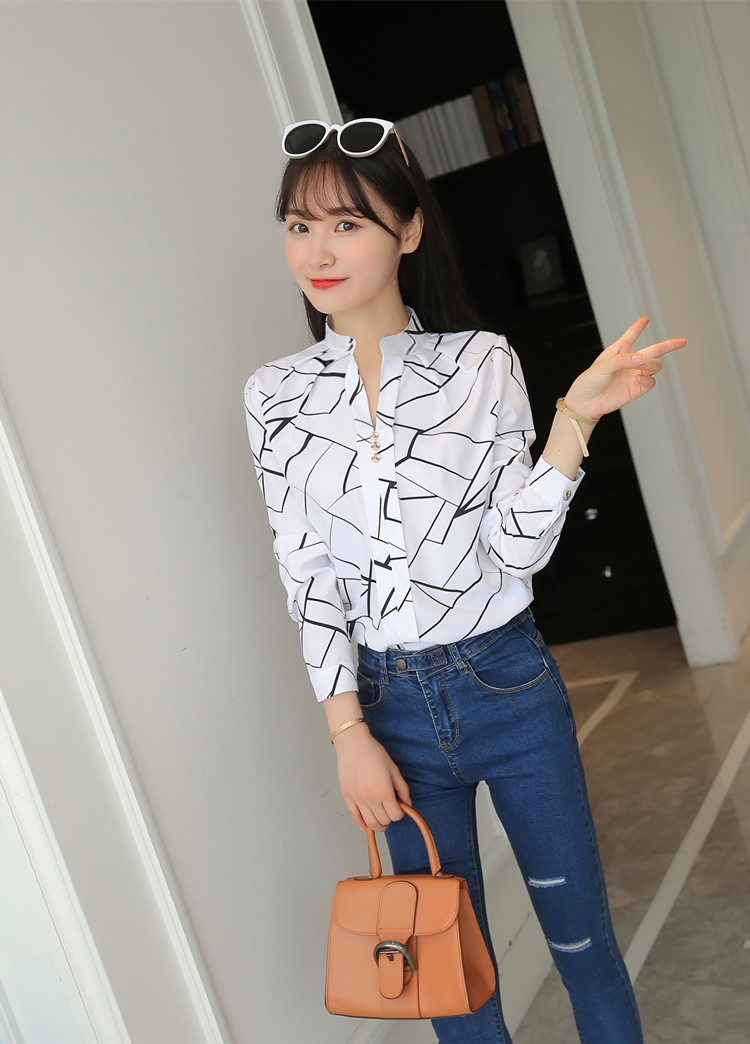 Hbeb7c365ebc74679acd3daa38692c5292 - Women Fashion White Tops and Blouses Stripe Print Design Casual Long Sleeve Office Lady Work Formal Shirts Female Plus Size