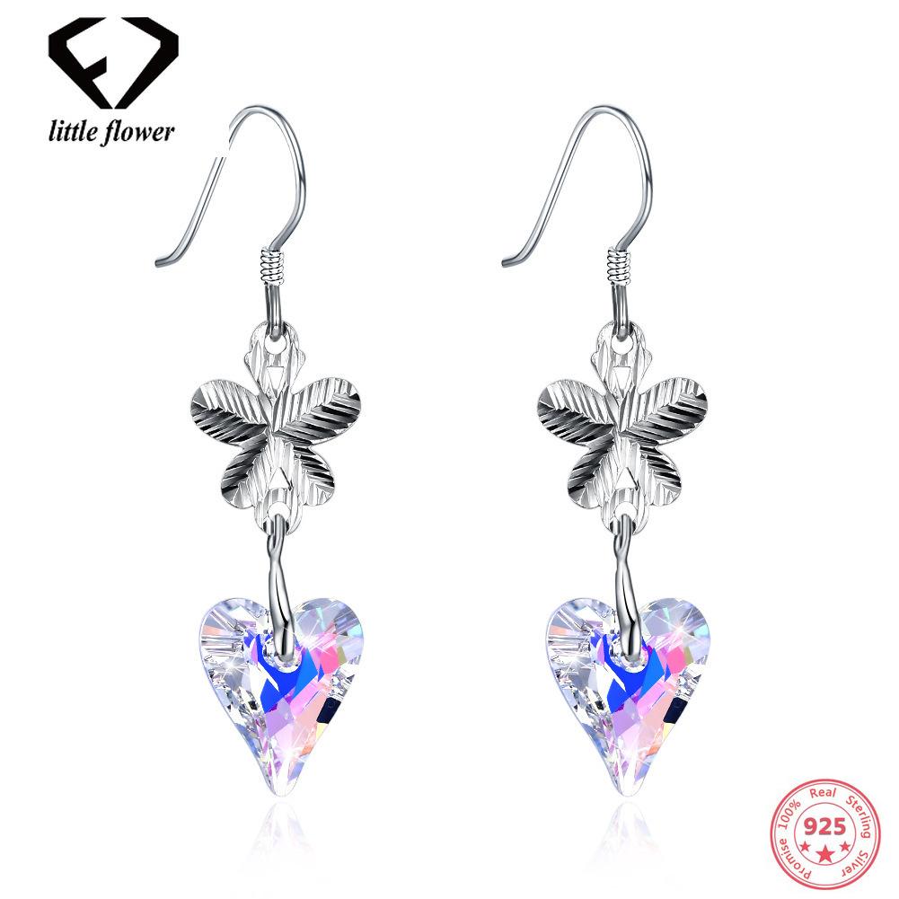 100% 925 Sliver Austria Crystal Drop Earrings Butterflies-Love Shaped Sterling Silver 925 Jewelry for Women Garnet Orecchini