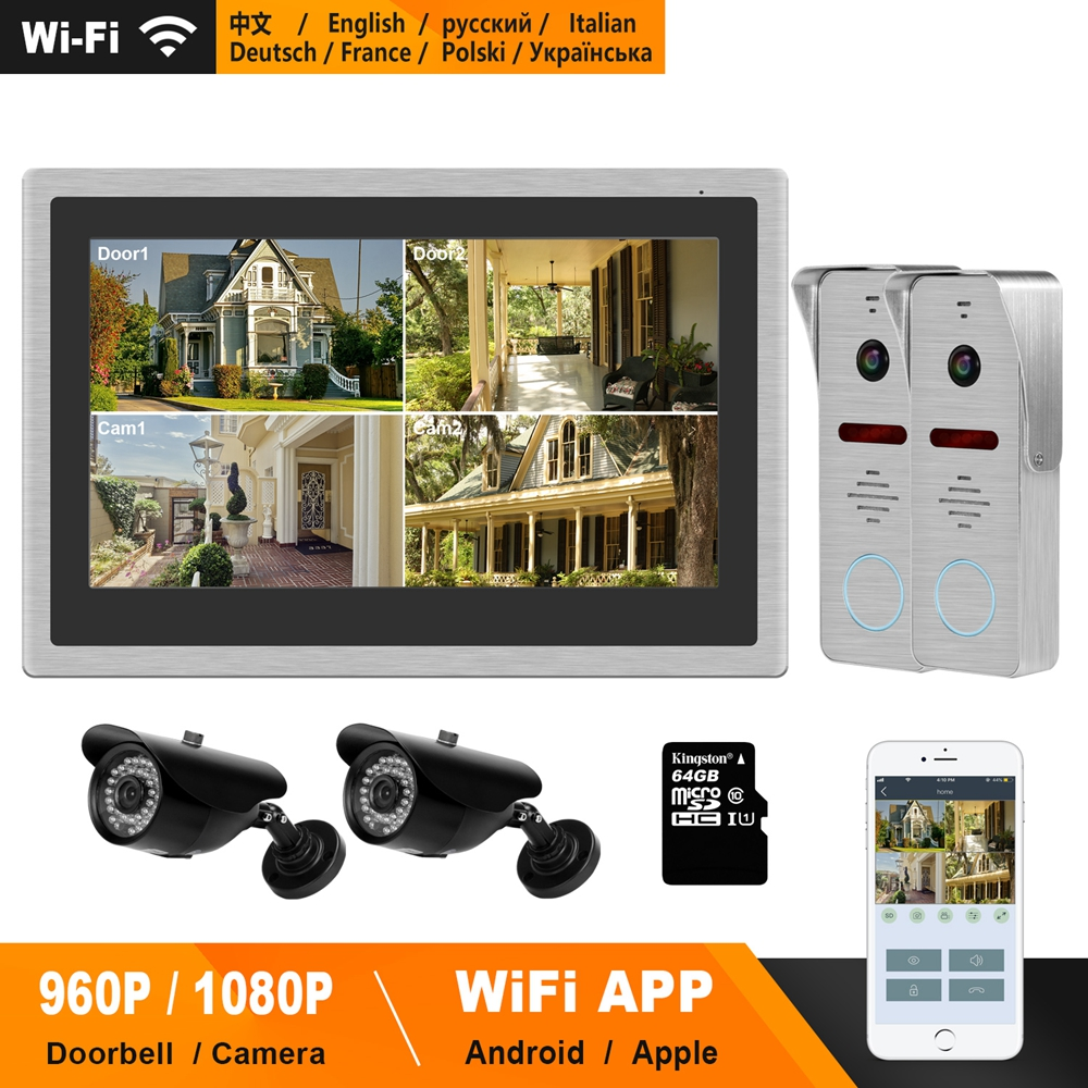 HomeFong WiFi Video Door Phone Wireless Video Intercom For Home 10 Inch Touch Screen 960P Doorbell Smart Phone Real-time Control