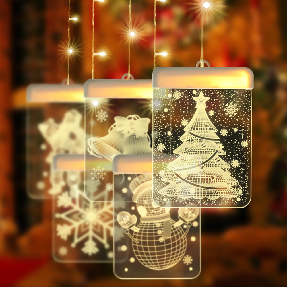 62LED Christmas Lights Garland Holiday USB String Lights Wall 3D Lamp Card For Door Window Holiday Decoration