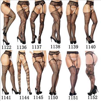 Women's Sexy Solid Striped Elastic High Waist Transparent Stockings Lingerie Garter Fishnet Pantyhose Open Crotch Tights - sale item Women's Socks & Hosiery