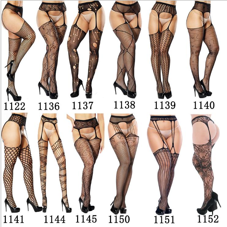 Women's Sexy Solid Striped Elastic High Waist Transparent Stockings Lingerie Garter Fishnet Pantyhose Open Crotch Tights image