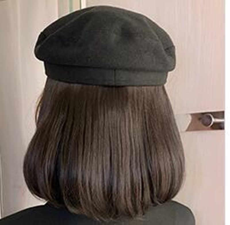 Granatowy kapelusz z włosami styl bob włosy z kapeluszami dołączone włosy syntetyczne czarny kapelusz z włosami krótka peruka w stylu bob dla kobiet Halo Lady