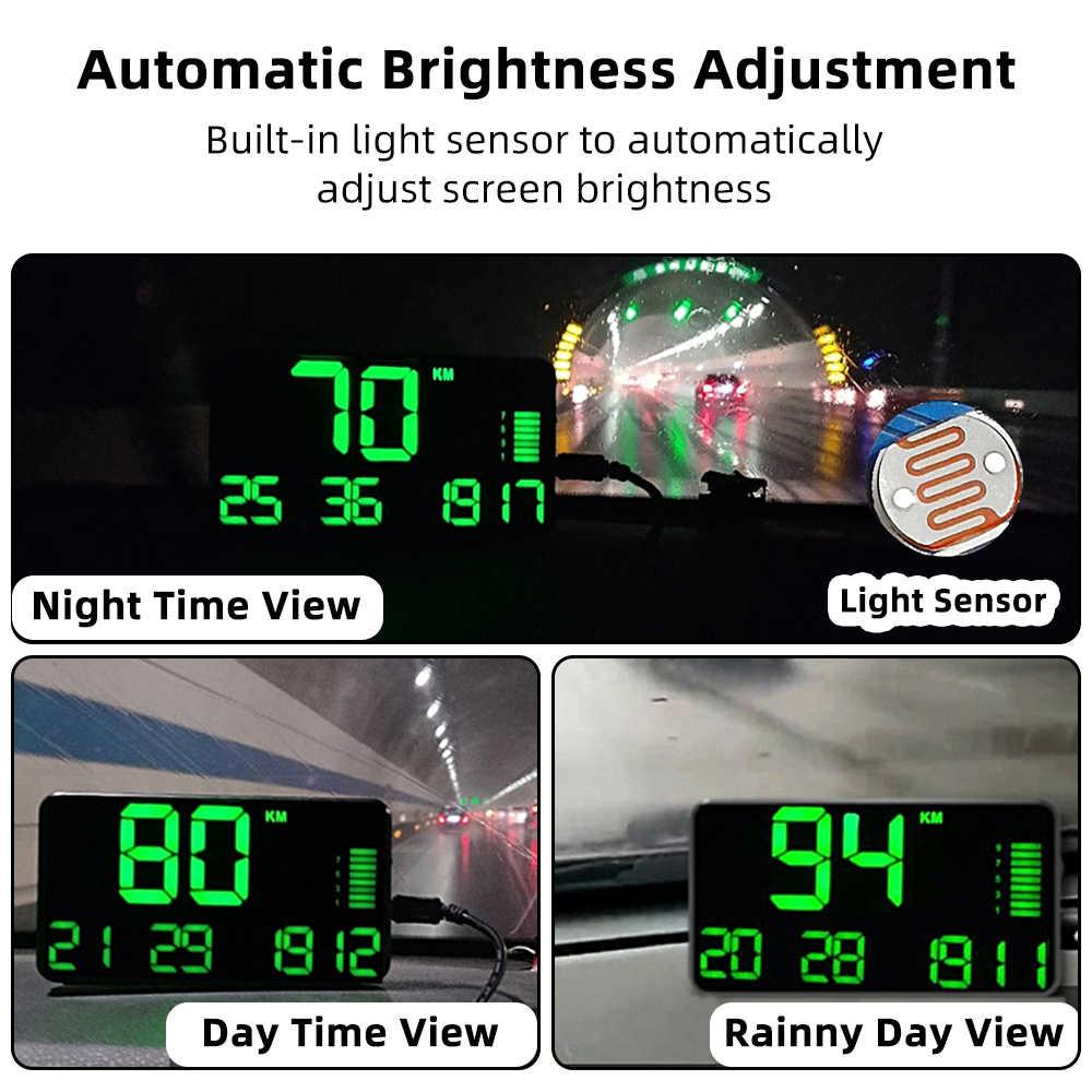 Deelife gps hudスピードメーターヘッドアップディスプレイ車高速デジタルキロ/h mph用フロントガラスヘッドアップ