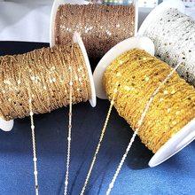 Nenhum fade 2 metros lantejoulas corrente colar ouro prata corrente metal cobre cabo cadeias descobertas jóias fazendo componentes artesanato diy