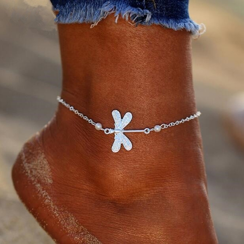 Barefoot Sandals Ankle Bracelet Beach Lady Dragonfly Crystal Anklets Foot Jewelry On The Leg New Beach Vintage Anklets
