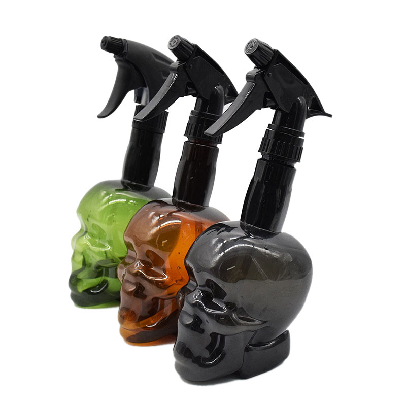 3Pcs/Set Skull Spray Bottle Hairdressing Vacuum Pressure Water Bottle Liquid Filling Bottle Hair Salon Tool Two Water Spray Effe
