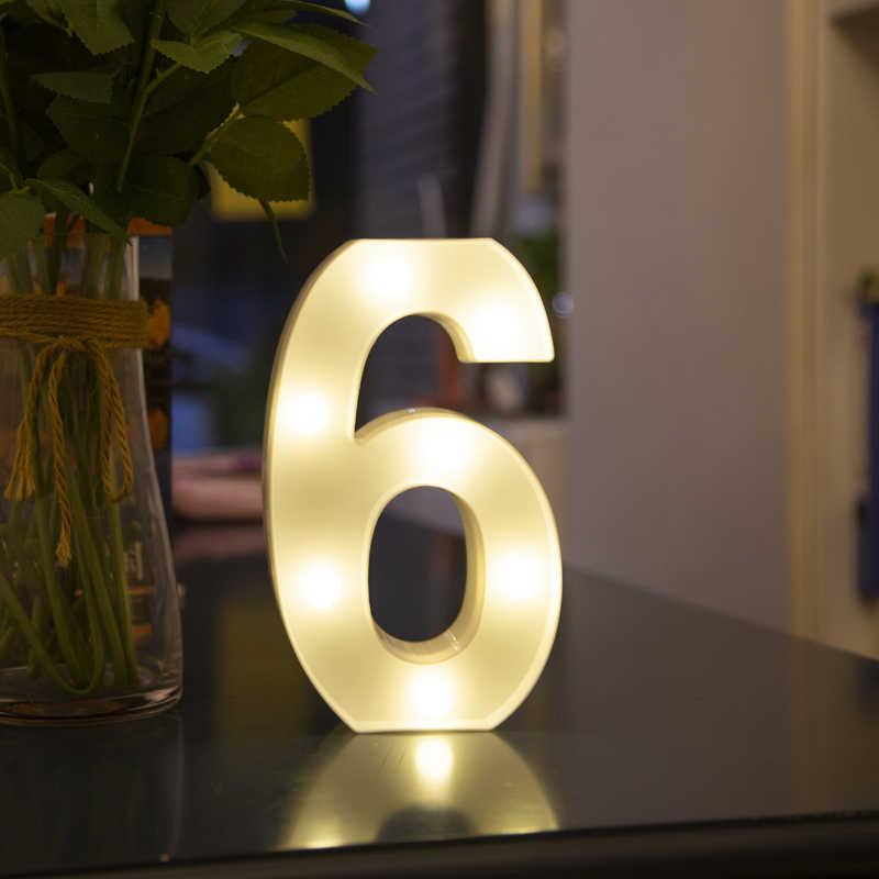 Cumpleaños boda aniversario Led carta noche luz creativa 0-9 luz lámpara de batería romántica boda fiesta Decoración