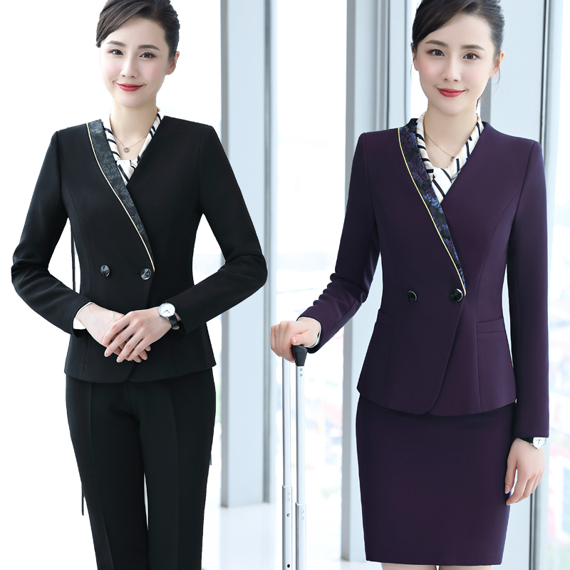 Hotel Staff Work Clothes Autumn/winter Front Desk Cashier Set Female Restaurant Cosmetologist Work Clothes Long Sleeves