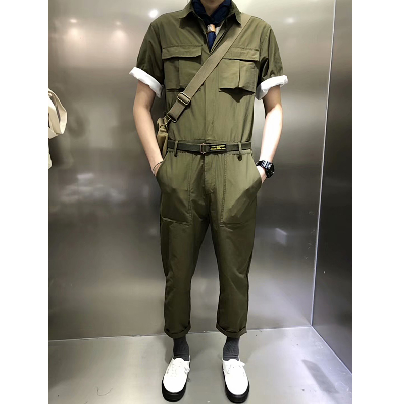 man Retro tooling one-piece suit male one loose Rompers hip hop <font><b>jumpsuit</b></font> streetwear pantalones <font><b>hombre</b></font> image