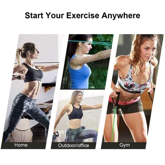 5 Levels  Elastic Band With Handles Yoga Pull Rope Elastic Gym Fitness Exercise Tube Band For Home Workouts Strength Training 4