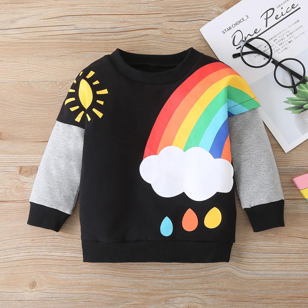 clothes Toddler Baby Boys Girls Long Sleeve Rainbow Print Sweater Tops Clothes children's sweatshirts толстовка детская худи 2