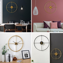 Nordic Black Gold Large Silent Wall Clock Living Room study Office Decoration Mute Metal Wall clock for Hotel Modern Decoration