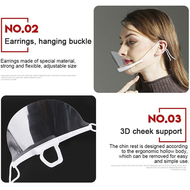 10pcs Mouth Nose Visor Antifog Shield Mask for Face Transparent Mouth Guard for Restaurant Food Supply