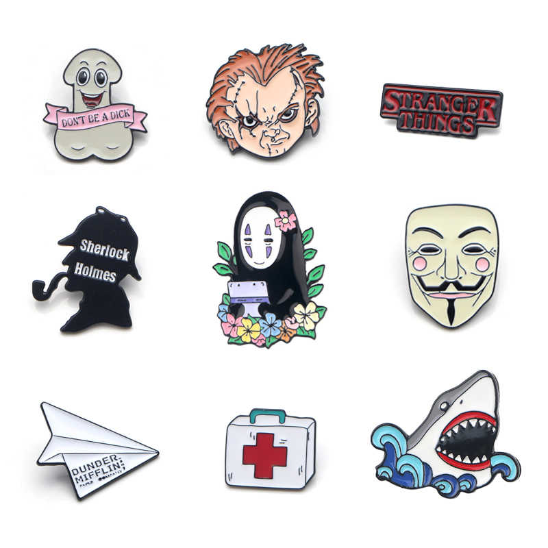 V112 V voor Vendetta en Stranger Dingen TV Metal Enamel Pins en Broches Fashion Revers Pin Rugzak Tassen Badge Collectie geschenken