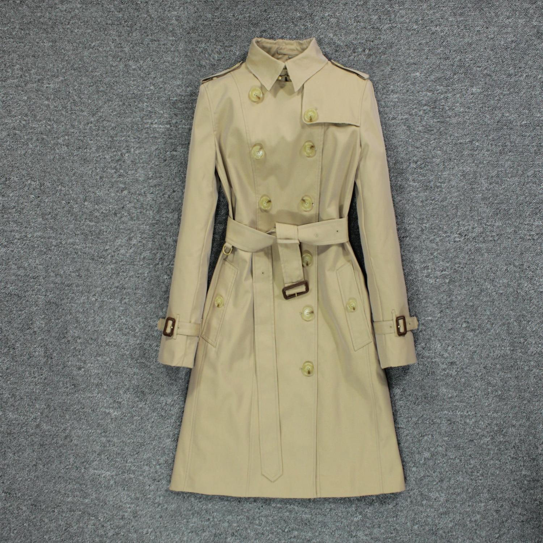 British style 2020 popular new women's windbreaker, black slim coat over knee Trench  - AliExpress
