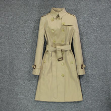 British style 2020 popular new women's windbreaker, black slim coat over knee