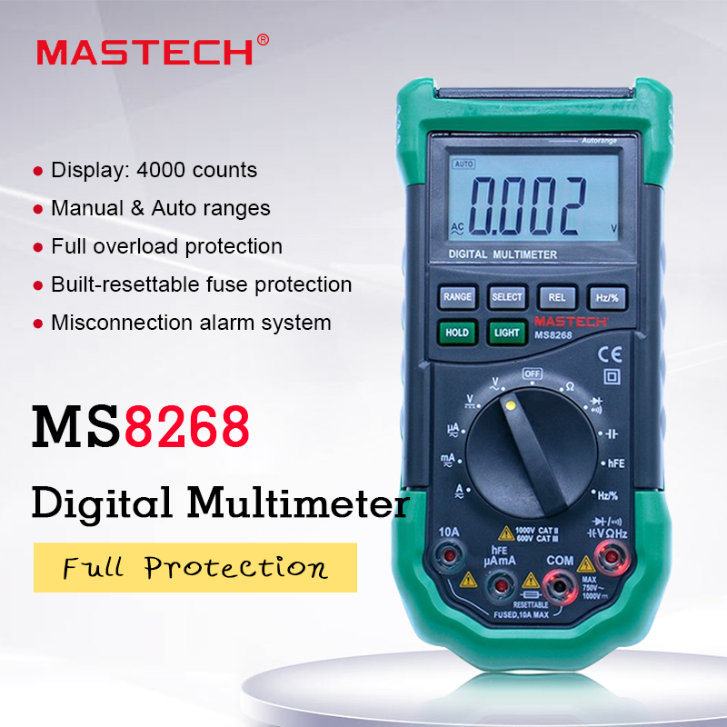 MASTECH MS8268 Digital Multimeter Auto Range Protection Ac dc Ammeter Voltmeter Ohm Frequency Electrical Tester Diode Detector