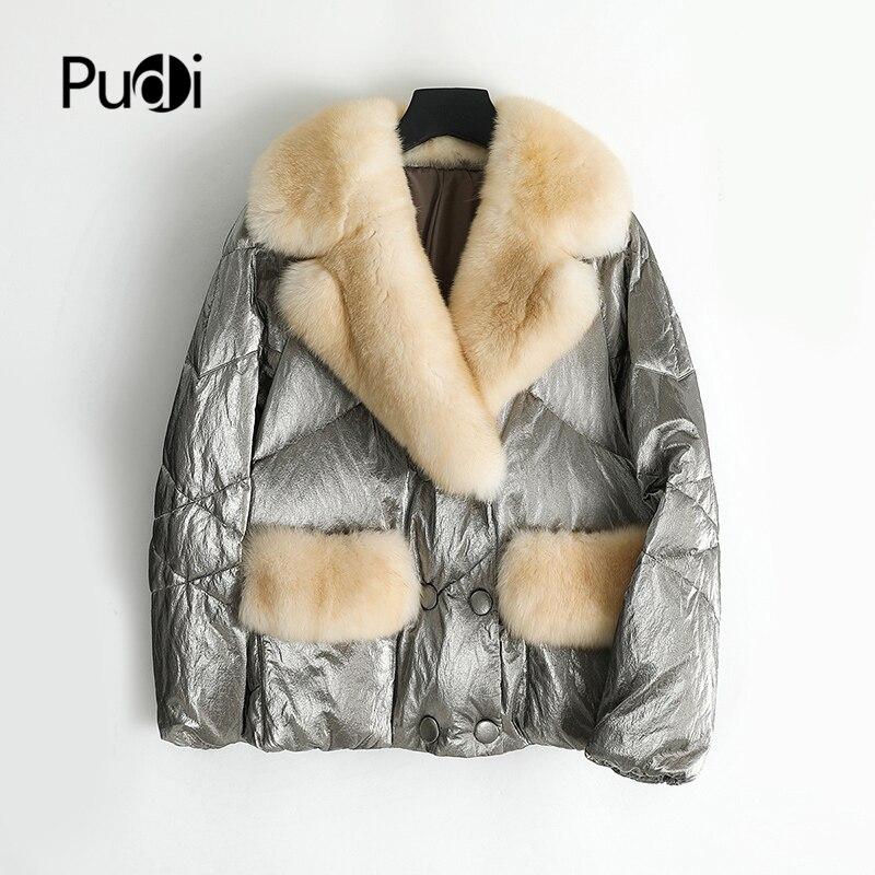 PUDI Women's Winter Warm Real Fur Parka Jacket Female Down Coat With Natuaral Fox Fur Collar Lady Coats Jackets Overcoat ZY901