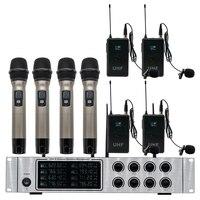 Professionelle drahtlose mikrofon system 4 handheld mikrofon 4 lavalier mikrofon rede leistung drahtlose mikrofon-in Mikrofone aus Verbraucherelektronik bei