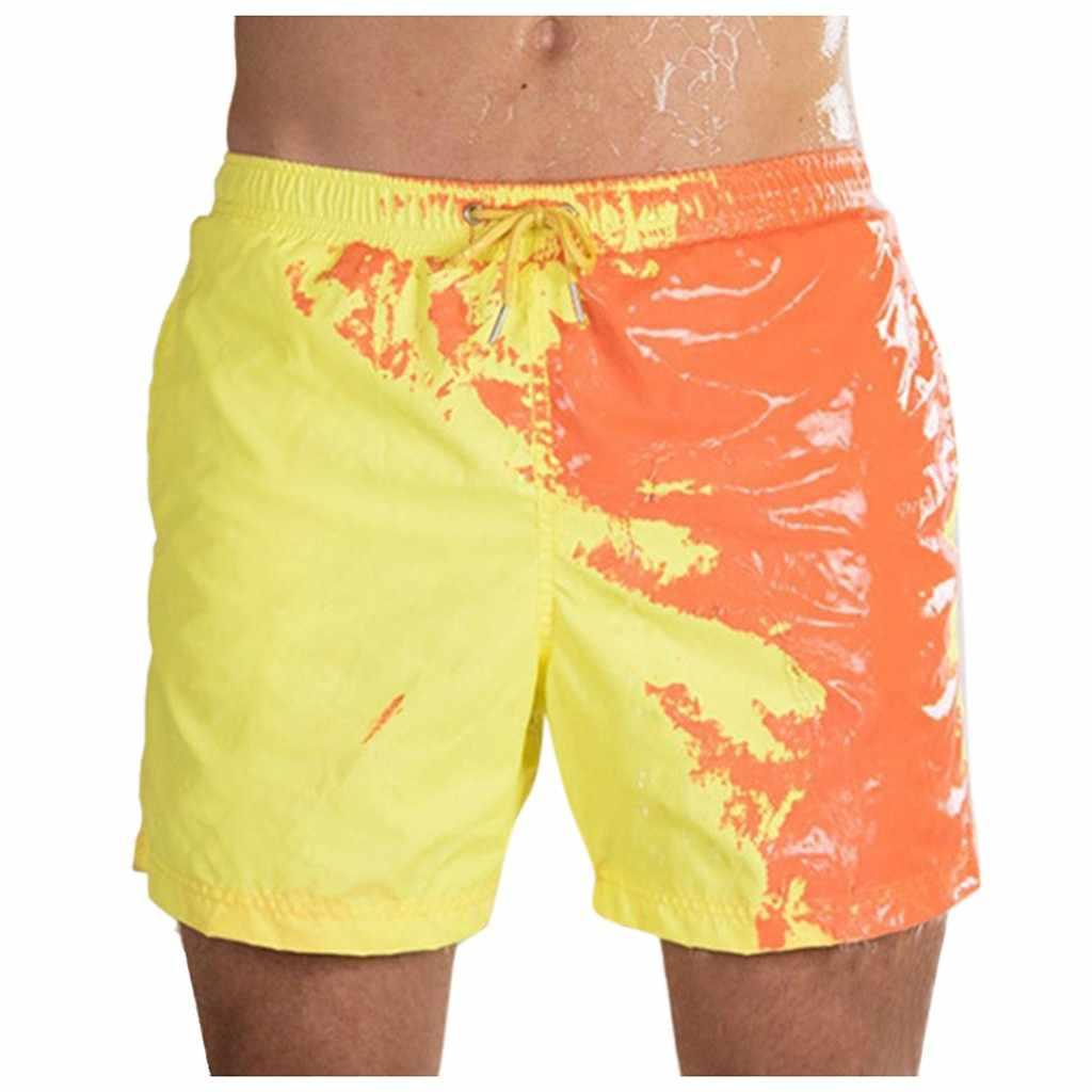 شورت سباحة رجالي صيفي شورت حساس للحرارة تغيير لون بناطيل الشواطئ سروال سباحة شورت تغيير لون ملابس سباحة