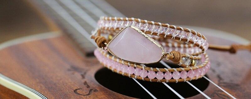 2019 Natural stone Weaving handmade friendship Bracelet crystal beads Women boho couple Wrap Bracelet Christmas Jewelry Gifts