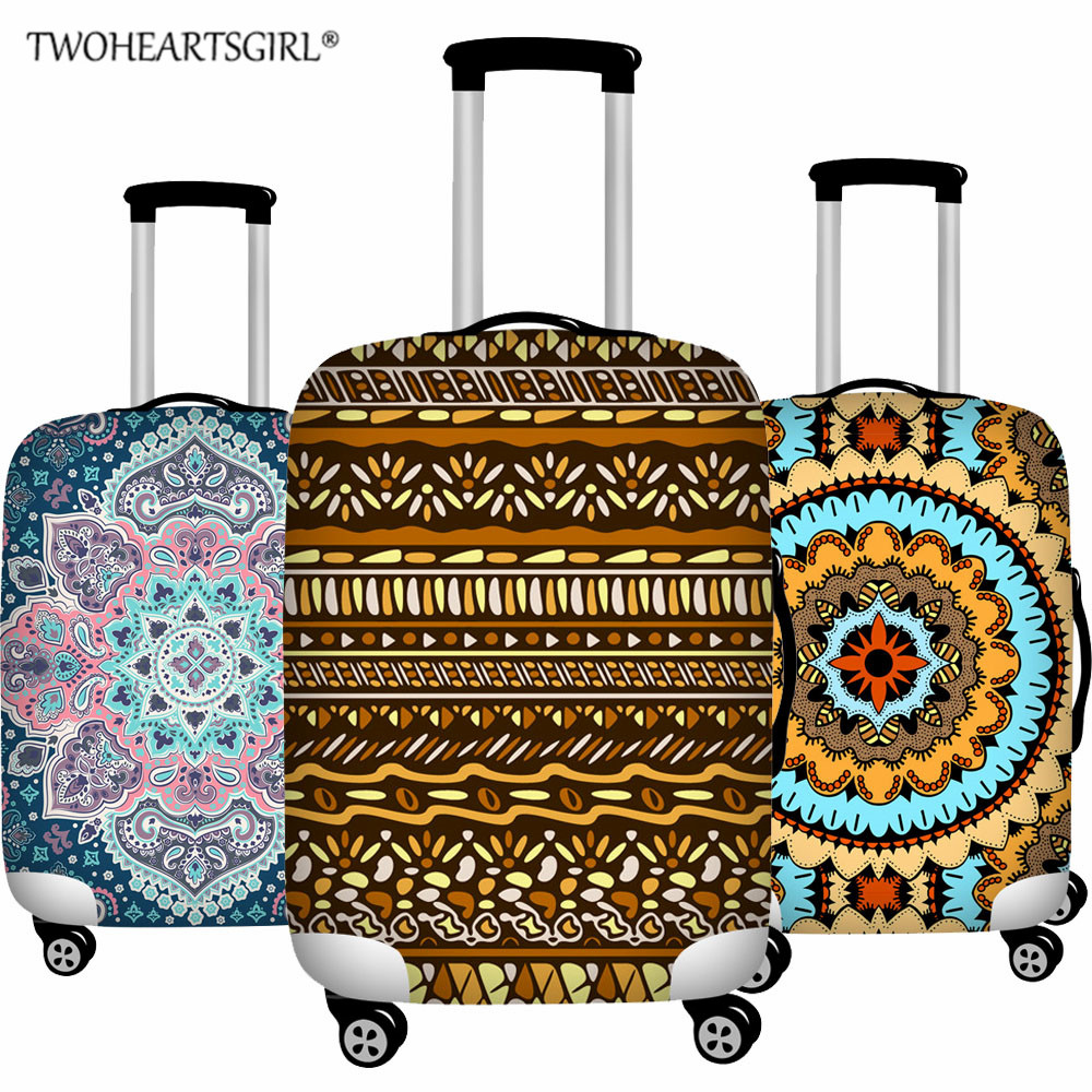 TWOHEARTSGIRL Tribal Nation Style Elastic Luggage Protective Cover For 18-32 Inch Trolley Suitcase Protect Dust Cover Vintage