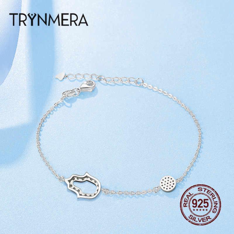 Evil Eye Femme bransoletki dla kobiet 925 srebro niebieskie oko Hamsa Hand Fatima Hand Women bransoletki Crystal Silver Jewelry