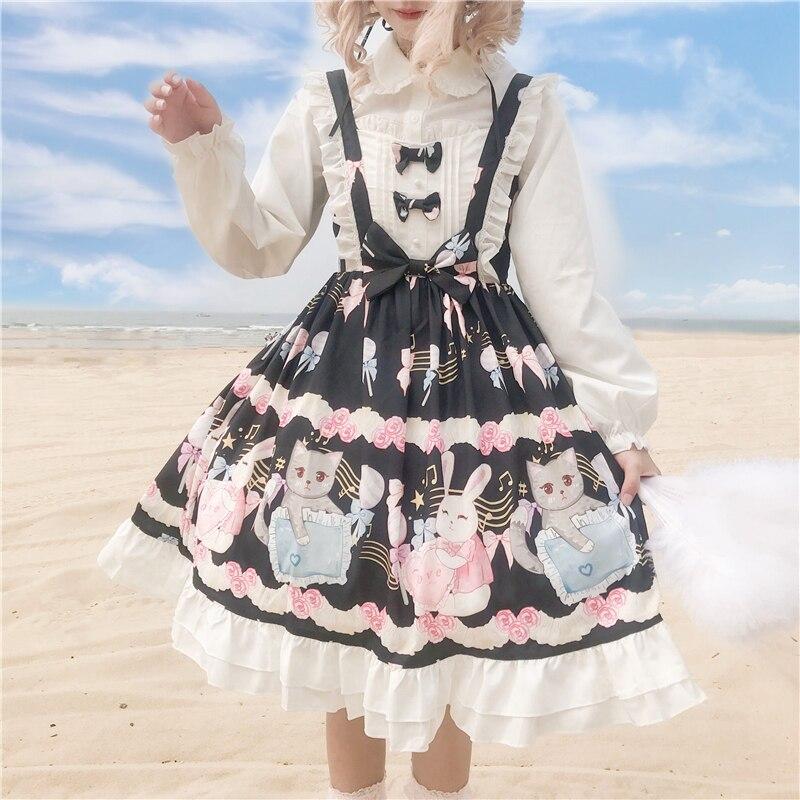 Милое Платье в стиле Лолиты в студенческом стиле, винтажное кружевное платье с бантом и высокой талией, милое платье в викторианском стиле, kawaii, для девочек, в готическом стиле, lolita jsk cos Платья      АлиЭкспресс