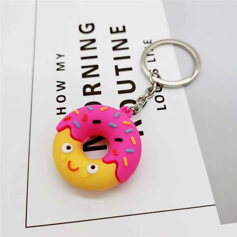Mini Donut Filhós Bonito Charme Saco Keychain Chave Anéis Crianças Meninas Presente Emoji Pingente Charme Saco