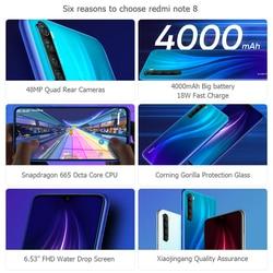 """W magazynie! Xiaomi Redmi Note 8 4GB 64GB Snapdragon 665 octa core telefon komórkowy 48MP Quad tylna kamera 6.3 """"4000 mAh 18W szybka ładowarka 3"""