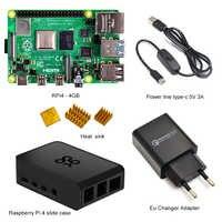 Raspberry Pi-Kit de arranque para Raspberry Pi 4 modelo B-4GB, carcasa deslizante de ABS auténtico + cable de alimentación tipo C de 5V/3A + cargador de corriente de la UE + disipador térmico