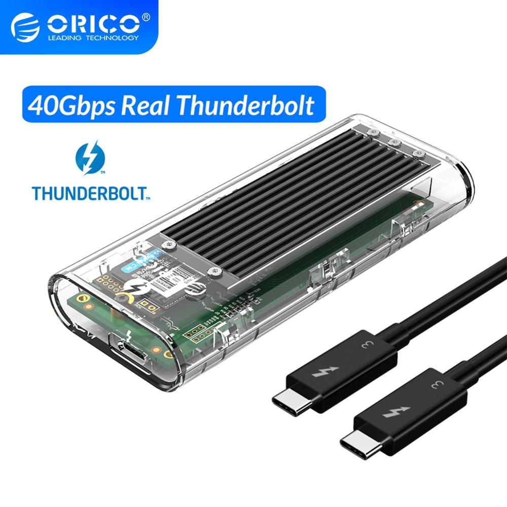ORICO Thunderbolt 3 40Gbps M 2 NVME SSD Enclosure 2TB Transparent USB C SSD Case with 40Gbps C to C Cable For Mac Windows