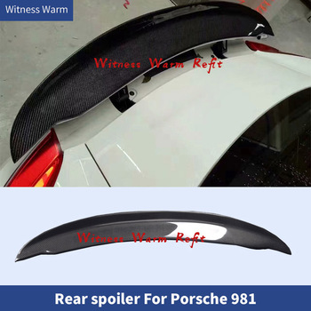 High Qualit CARBON FIBER FRP REAR WING TRUNK LIP SPOILER FOR Porsche Cayman Boxster 981 body kit image