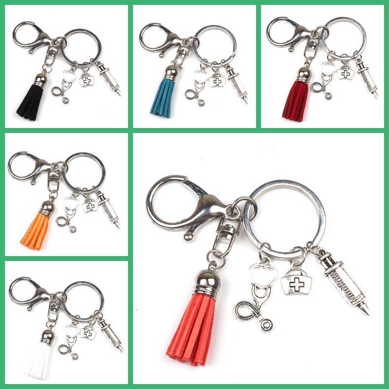 New Fashion Nurse Medical Box Medical Key Chain Needle Syringe Stethoscope 13color Tassel Cute Keychain Jewelry Gift Souvenir