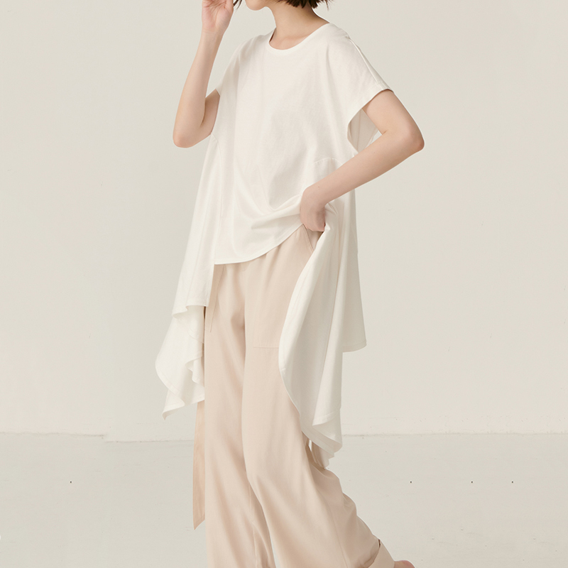 [EAM] Women White Asymmetrical Hem Split Temperament  T-shirt New Round Neck Long Sleeve  Fashion Tide  Spring Summer 2020 JY443 2
