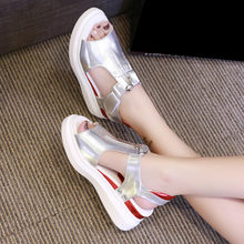 sandals women sports sandals summer platform zipper gold silver wedges shoes brand designer 2020 casual fashion(China)